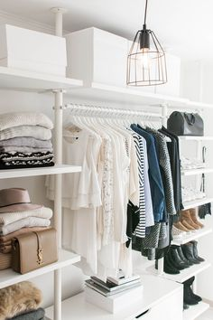 walk in closet- dressing room - IKEA - Stolmen - Ankleidezimmer - industrial lamp - YSL - Saint Laurent - Monogram Université - Zara - Louis Vuitton (Diy Storage Bedroom) Closet Bedroom, Closet Space, Master Closet, Ikea Closet, Girl Closet, Minamilist Bedroom, Bedroom Ideas, Closet Mirror, Closet Doors