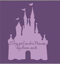 "Disney Castle Princess 22""l x 32""hPink Cinderella Girls Vinyl Wall Decal Sticker Art"