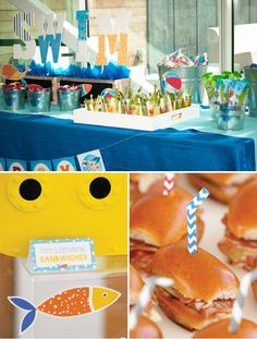 Pool/Beach Party Snack Buffet + Mini Submarine Sandwiches // #LittleSwimmers Party