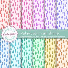 """water color scrapbook paper """" watercolor rain drops """" digital scrapbook paper…"""