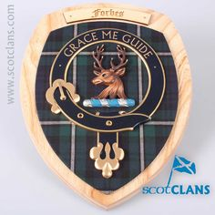 Forbes Clan Crest Wall Plaque. Free worldwide shipping available.