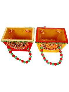 Handmade Paper Mache Set of 2 Basket shape utility basket for pen stand or office table decor