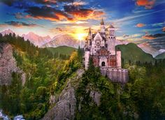 King Ludwig II of Bavaria spent a fortune building his famous castles. The stunning Neuschwanstein was the inspiration for Walt Disney's Cinderella's Castle. But, was Ludwig insane? Fairytale Castle, Cinderella Castle, Fantasy Castle, Princess Castle, Real Cinderella, Enchanted Castle, Fantasy Art, Snowdonia, Beautiful Castles