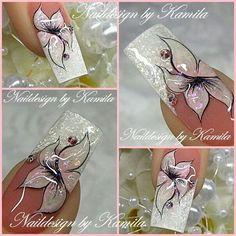 French Tip Nail Designs, Square Nail Designs, Romantic Nails, French Manicure Nails, Finger Nail Art, Floral Nail Art, Luxury Nails, Pretty Nail Art, New Nail Art