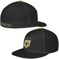 Mitchell   Ness New Orleans Saints Black Alternate Logo Fitted Flat Bill Hat 8d99e5f76