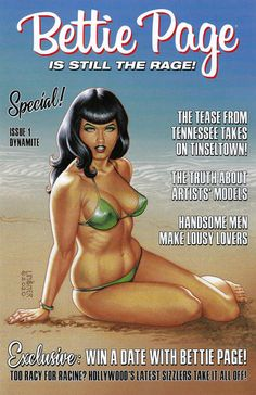 GCD :: Cover :: Bettie Page #1 Comic Book Pages, Comic Book Artists, Bettie Page Photos, Blockbuster Film, Entertainment Logo, Artists And Models, Fantasy Films, New Series, La La Land