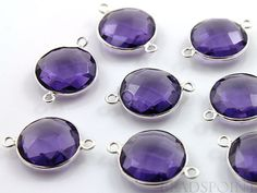 Purple Amethyst  Bezel COIN Shape Gemstone Component by Beadspoint, $7.99