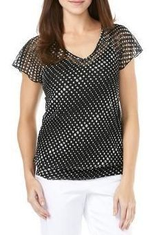 Sheer Polka Dot Flutter Top and Cami - Style # 28422624 - BLACK WHITE PATTERN
