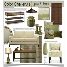 Color Challenge: Green and Brown by jpetersen on Polyvore featuring interior, interiors, interior design, дом, home decor, interior decorating, Ethan Allen, Jayson Home, West Elm and Koko