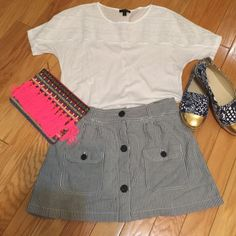 "American Eagle Outfitters skirt . AEO seersucker skirt. Blue and white . 15"" long. American Eagle Outfitters Skirts Mini"