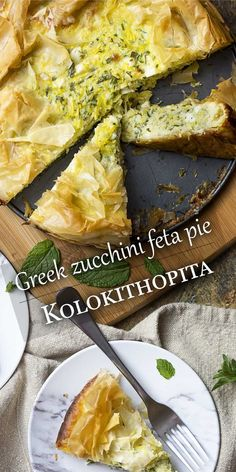 Kolokithopita (Greek Zucchini Feta Pie) – Just a Little Bit of Bacon Kolokithopita is a seasonal Greek pie full of zucchini and summer squash mixed with herbs, feta cheese, and eggs. All wrapped in a golden brown fillo crust. Greek Recipes, Vegetable Recipes, Vegetarian Recipes, Cooking Recipes, Healthy Recipes, Greek Desserts, Easy Cooking, Mediterranean Diet Recipes, Mediterranean Dishes
