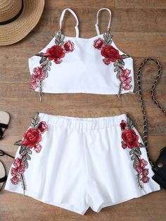 Embroidered Bowknot Top with Shorts - WHITE S Style: Casual Length: Mini Material: Polyester Fit Type: Regular Waist Type: Mid Closure Type: Elastic Waist Front Style: Pleated Pattern Type: Floral Decoration: Embroidery Weight: Package: 1 x Top 1 x Shorts Cute Winter Outfits, Summer Outfits, Cute Outfits, Two Piece Outfit, Two Piece Skirt Set, Romper With Skirt, Summer Blouses, Blouse Outfit, Boho Tops