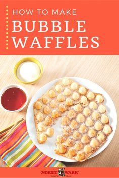 Try this Bubble Waffle recipe using Nordic Ware's Waffle Puffs Pan! Sweet or savory, the options are endless. Brunch Recipes, Breakfast Recipes, Dessert Recipes, Churros, Cake Pops, Waffle Pan, Waffle Maker Recipes, Egg Waffle Recipe, Nordic Recipe