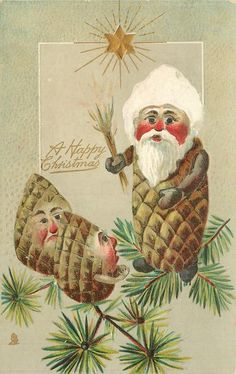 A HAPPY CHRISTMAS senior Pine-Cone person threatens two youngsters with switch 24/12/1908-GREAT BRITAIN