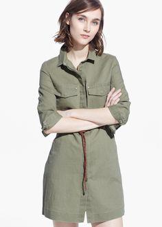 Mango Linen Blend Shirt Dress