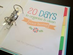 20 days to organise and clean your home binder