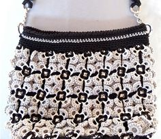 Flower black and grey crochet purse eco friendly by propuestaunica,