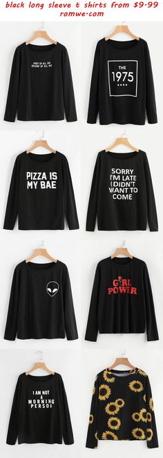black long sleeve t shirts - romwe.com