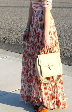 Floral Maxi Skirt. Love with the striped top