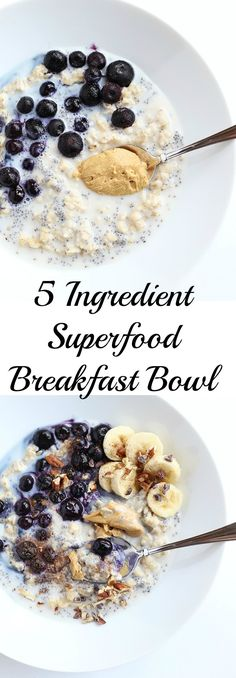 This 5 Ingredient Superfood Breakfast Bowl is packed full of healthy fiber and vitamins from the chia seeds and blueberries! It is super simple, vegan and gluten free! / TwoRaspberries.com
