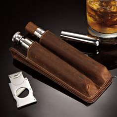 Cigar Lounge - Case, Cutter & Flask at Brookstone—Buy Now!