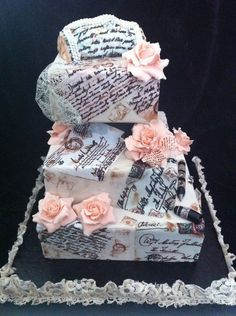 Wanted to create something unique and different. Roses are made from fondant no cutters free hand.Hand painted the love letters.