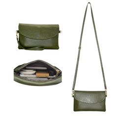 """Befen Full Grain Leather Wristlet Clutch Crossbody Phone Wallet Mini Cross Body Bag with Shoulder Strap /Wrist Strap/Card Slots for iPhone 6S Plus/Samsung Note 5 - Olive Green. Our company Befen is now updating our brand and package from """"Belfen"""" to """"Befen"""" for better brand recognization; hence you may receive products tagged with either of them. MATERIAL: Premium full grain leather with very soft hand feel, fabric lining and gold tone accents. SMARTPHONES CAN FIT: Up to 6.4"""" X 3.3"""" X…"""