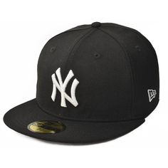 New Era New York Yankees MLB Basic Logo White 59FIFTY Cap Black ($20) ❤ liked on Polyvore featuring accessories, hats, mlb caps, sport caps, ny yankees cap, new york yankees hat and sports hats