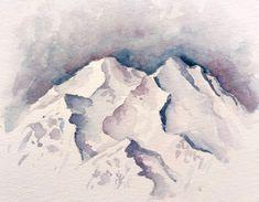 Montagnes à la peinture aquarelle. Tuto aquarelle disponible dans le Club Aquarelle Club, Nature, Outdoor, Budget, Easy Watercolor, Watercolor Painting, Water Colors, Mountains, Drawing Drawing