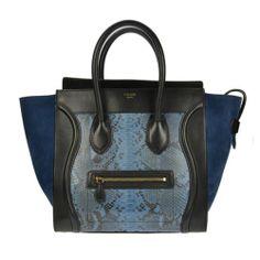 Celine Mini Luggae Tri Color Python Tote Blue and Navy Blue Authentic Handbag | eBay #MemorialDaySale #CelineBag