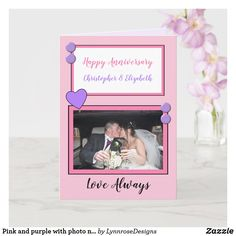 Pink and purple with photo names anniversary card Wedding Anniversary Greeting Cards, Wedding Anniversary Photos, Happy Anniversary, Wedding Cards, Zazzle Invitations, Party Invitations, Green Photo, Love Always, Custom Greeting Cards