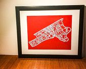 Items similar to Kitchener - Waterloo Centre Paper cut map Custom Mats, Paper Cutting, Cut Paper, Black Wood, Red Roses, Centre, Unique Gifts, My Etsy Shop, Valentines