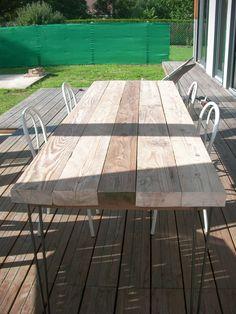 """Table d'extérieur avec pieds épingle """"home made"""" - Réhabilitation d'un atelier par rosettaplyss sur ForumConstruire.com"""