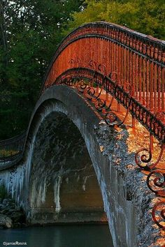 Bridge on Fire - Sibley, Trenton, Michigan ~ Photo by Jamie Mink. Wearing that cute beach dress, on the bridge looking hot! Beautiful World, Beautiful Places, Beautiful Park, Beautiful Moments, Simply Beautiful, Ouvrages D'art, Love Bridge, Arch Bridge, Old Bridges