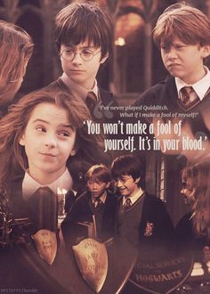 """""""You won't make a fool of yourself. It's in your blood."""" - Hermione ~ Harry potter and the Sorcerer's Stone Harry Potter Feels, Mundo Harry Potter, Harry James Potter, Harry Potter Jokes, Harry Potter Hermione, Harry Potter Pictures, Harry Potter Aesthetic, Harry Potter Universal, Harry Potter Characters"""
