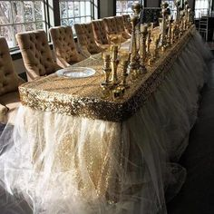 Gold sequin and tulle head table by Have a Seat Decor Gold sequin and tulle head table by Have a Sea Glamorous Wedding, Dream Wedding, Gothic Wedding, Luxury Wedding, Gold Wedding, Wedding Flowers, Cake And Cupcake Stand, Wedding Decorations, Wedding Backdrops