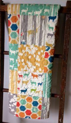 Organic Baby Quilt, Toddler Quilt, Gender Neutral, Elk Grove, Yellow, Pool, Grey, Crib Quilt, Crib Bedding, Nursery Quilt, Baby Bedding on Etsy, $125.00