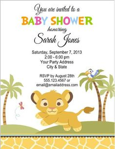 Lion King Baby Shower Invitations Cartoon Pastel Color Theme Cute - Lion king birthday invitation template free