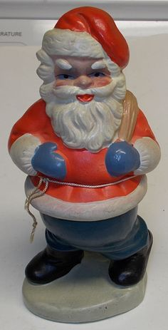 Antique Composition German Santa Claus Candy Container 1930's Blue Pants Red | eBay