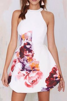 #short coctail dress sexy cocktails #fashion #white with flowers ...PUSH and choose