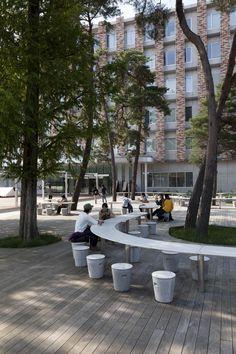 Works / Rissho University Kumagaya Campus-On-site planning and design . Landscape And Urbanism, Park Landscape, Landscape Architecture Design, Urban Landscape, Architecture Diagrams, Urban Architecture, Architecture Portfolio, Urban Furniture, Street Furniture