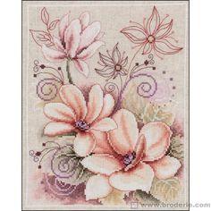 Broderie Point de Croix Bouquet de magnolia Vervaco VE.0145134 - La Maison du Canevas et de la Broderie