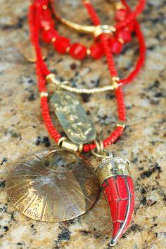 Custom Red and Gold Tibetan Tusk and Bronze Pendant Statement Necklace Red Jewelry, Ethnic Jewelry, Jewelry Crafts, Jewelery, Bold Necklace, Morning Inspiration, Boho Accessories, Bronze Pendant, Custom Jewelry Design