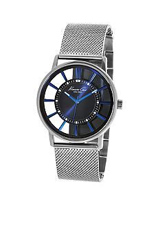 Kenneth Cole New York Men's Blue Plated Transparent Dial with Blue Plated Mesh Bracelet Watch #Belk #Men #Watch
