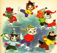 "Elizabeth Webbe illustration of kittens ice skating-from vintage book ""The Seven Wonderful Cats"" Vintage Christmas Cards, Christmas Cats, Vintage Cards, Kitten Images, Photo Chat, Vintage Children's Books, Vintage Ideas, Here Kitty Kitty, Children's Book Illustration"
