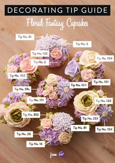This handy decorating tip guide is a useful tool when piping different buttercream flowers as the guide clearly illustrates what piping tip was used for each decoration C. Cake Decorating Piping, Cake Decorating Tutorials, Cookie Decorating, Cupcakes Decorating, Cupcake Decorating Techniques, Wilton Decorating Tips, Professional Cake Decorating, Cookie Tutorials, Decorating Ideas