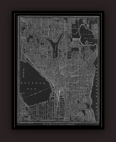 Seattle Early 1900's  Lithograph Map