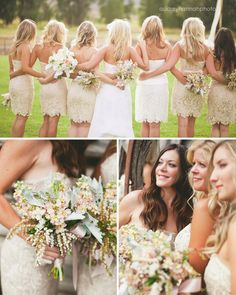 love the nude colored lace dresses for the bridesmaids
