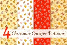 Christmas Cookies Seamless Pattern Graphics Flat vector Christmas background seamless pattern with scattered different cookies. Gingerbread men by vectorikart