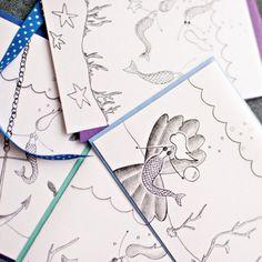 Under the Sea Stationery, Set of 8 Blank Mermaid Themed Notecards- LOinLONDON® fine paper goods + whimsical design | www.loinlondon.com